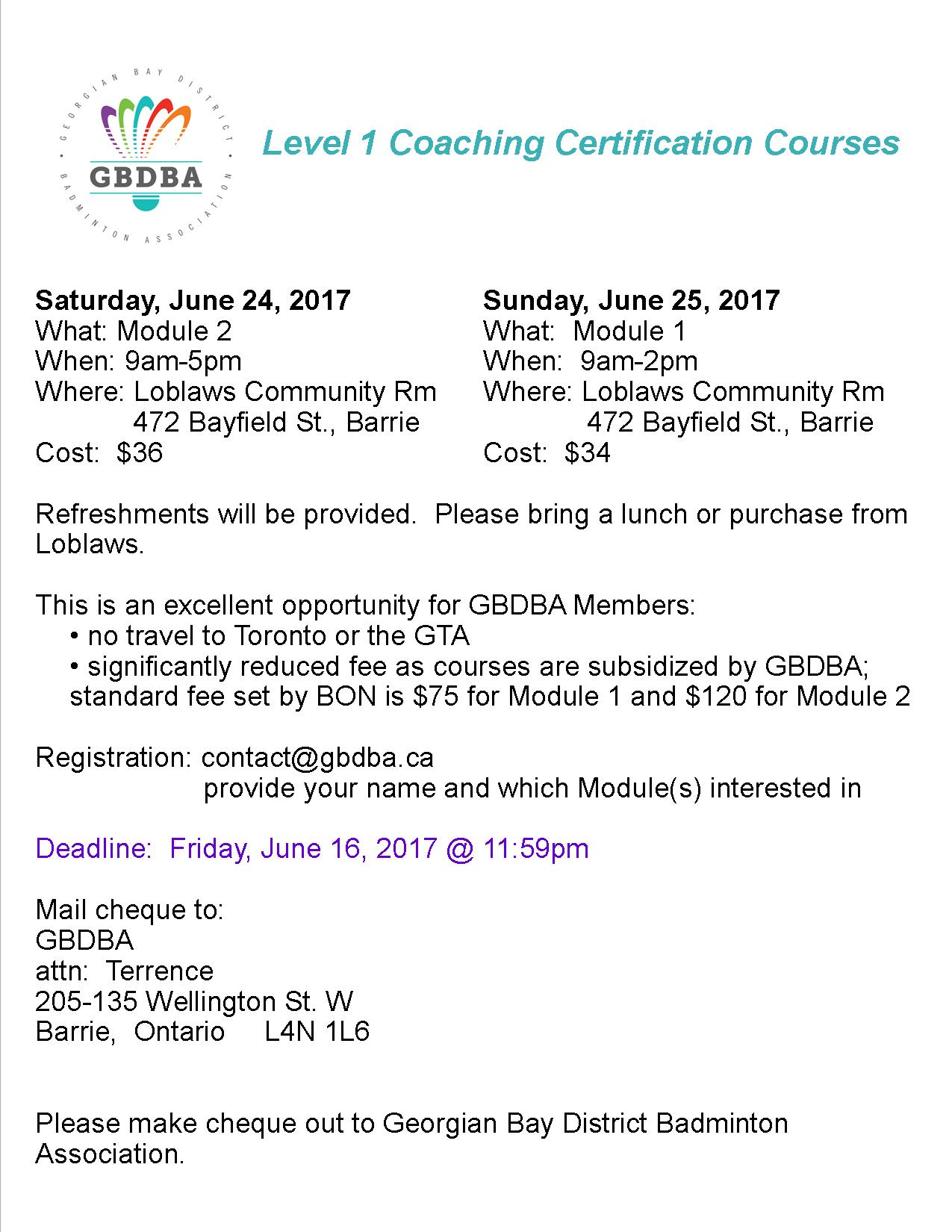 2017 may georgian bay district badminton association level 1 nccp coaching certification hosted by gbdba 1betcityfo Image collections